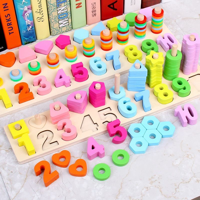 Montessori Math Toys Digital Shape Pairing Learning Preschool Counting Board Kids Educational Wooden Toys for Children Gift