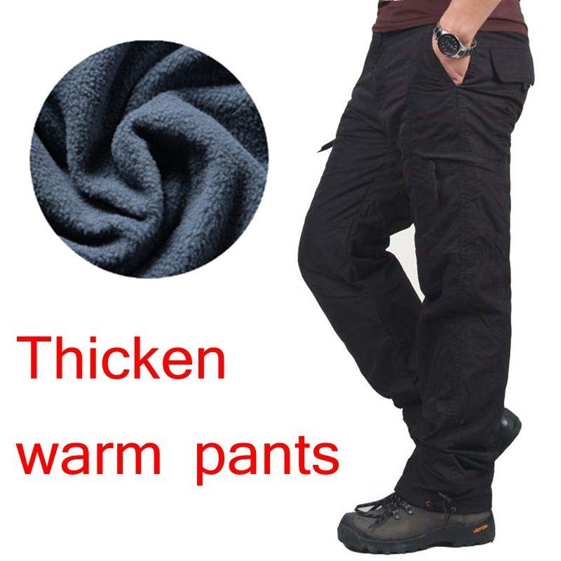 Зима двойной Слои Мужские брюки карго теплый толстый мешковатые Брюки для девочек хлопковые брюки для Для мужчин мужской Военная Униформа ...