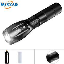 ZK20 CREE XM-L T6 8000LM LED Zoomable Focus antorcha lámpara táctica de la antorcha de la linterna para acampar en bicicleta sin batería
