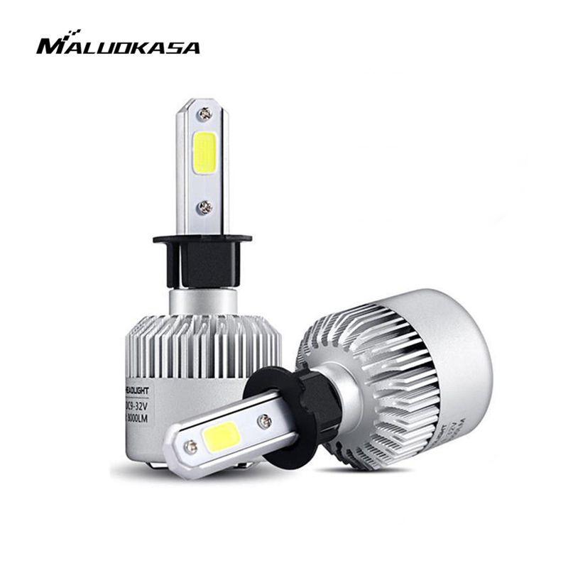 MALUOKASA 2PCs 8000LM Car Headlight S2 H1 H4 H7 LED 72W H8/H9/H11 9005/HB3 9006/HB4 H27 LED Lamp 6000K White for BMW VW Audi
