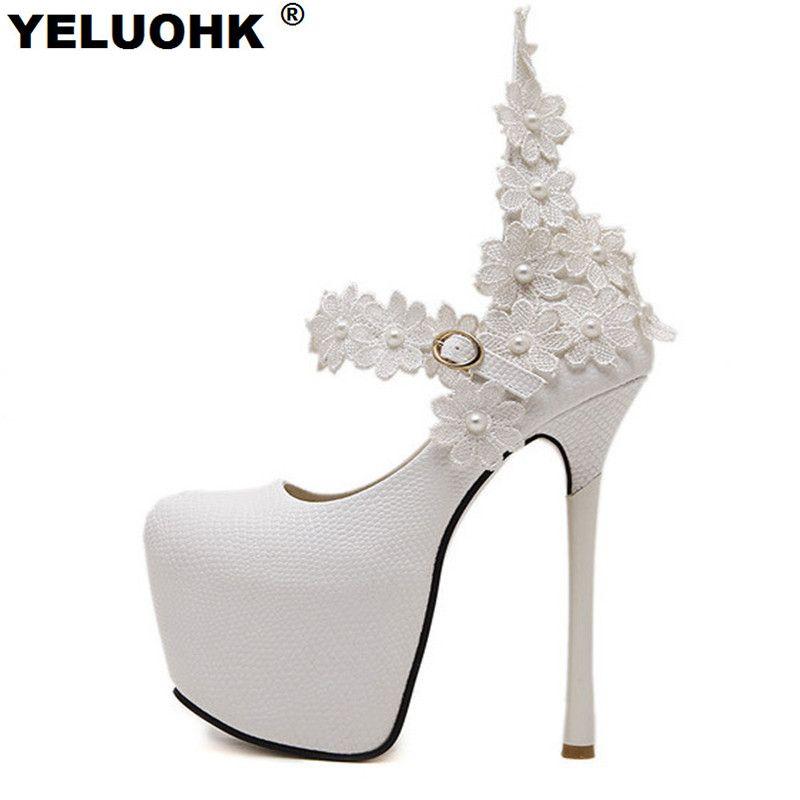 Новые модные с цветочным рисунком пикантные свадебные туфли на высоком каблуке женские белые туфли женские туфли-лодочки 15 см обувь на плат...