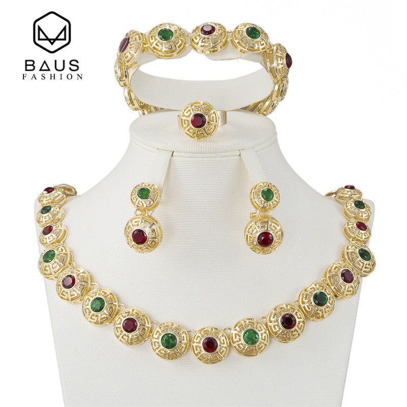 BAUS 2017 NEW Fashion Gold-color Jewelry set for Party african women wedding Jewellry set femme Earrings Necklace Jewelry Sets