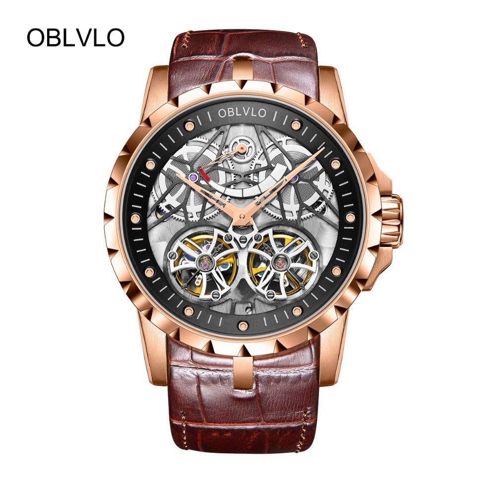 2018 neue Designer OBLVLO Luxus Skeleton Uhren für Männer Military Uhren Tourbillon Power Reserve OBL3609