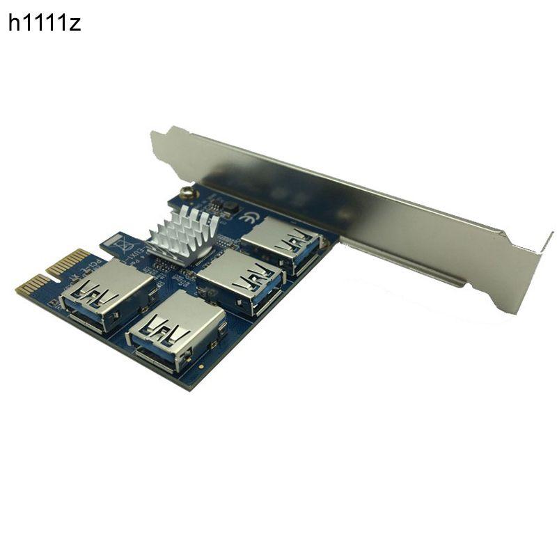 Chaude PCIE PCI-E PCI Express Riser Card 1x à 16x1 à 4 USB 3.0 Slot Multiplicateur Hub Adaptateur Pour Bitcoin Mining Mineur BTC dispositifs