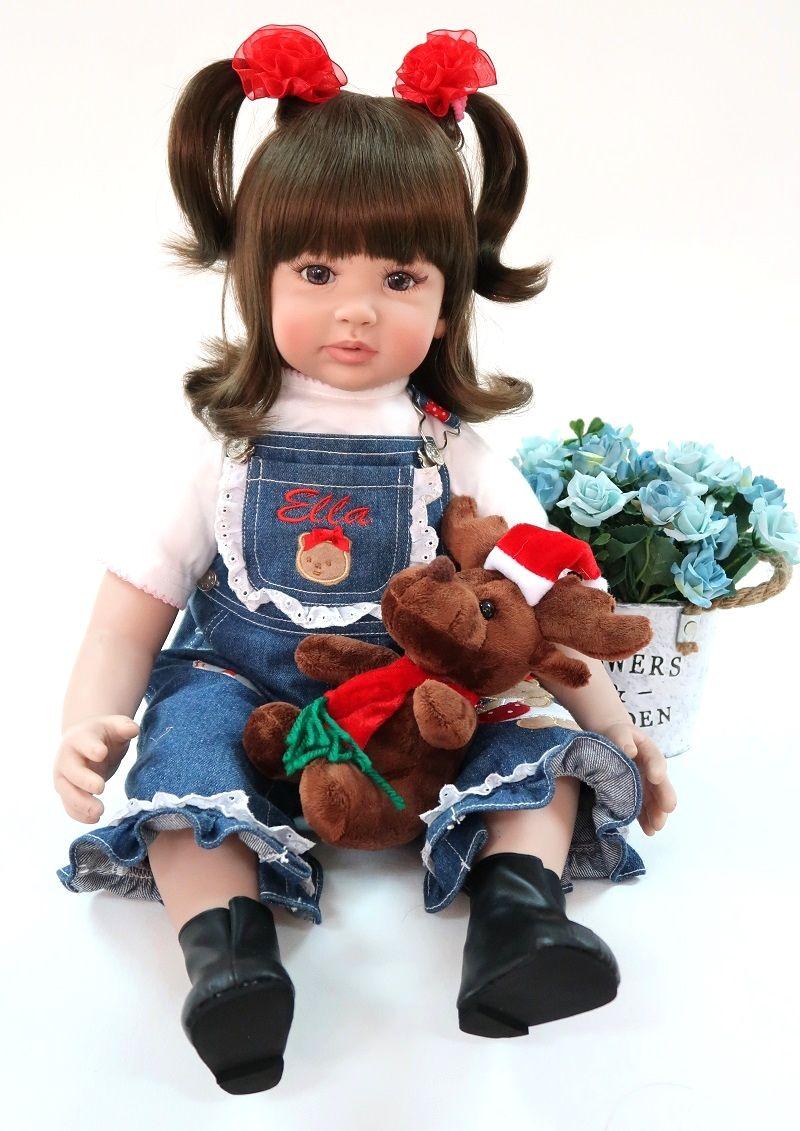 60cm Lovely Silicone Reborn Baby Girl Doll Toy Vinyl Princess Toddler Babies Like Alive Bebe Bonecas Fashion Birthday Xmas Gift