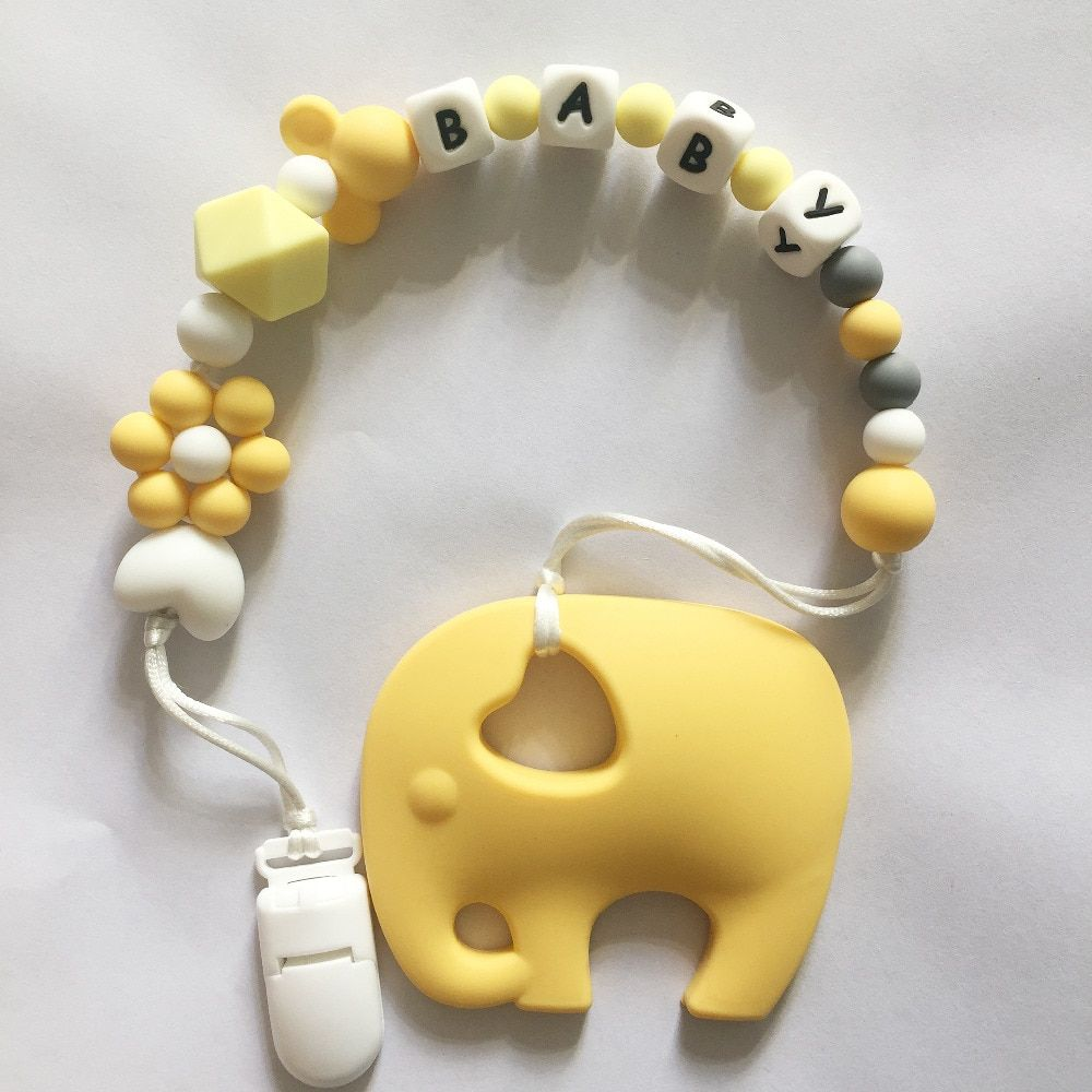 Personalized Name Silicone Teething Pacifier Clips with Elephant Silicone teether Pacifier Chain Necklace for  Baby Chew Toys