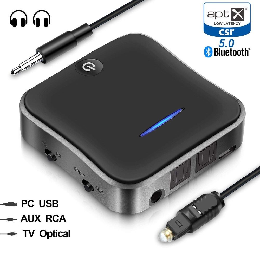 Bluetooth 5.0 Transmitter Receiver aptX HD Low Latency Audio 3.5mm Aux/RCA/SPDIF Bt Music Wireless Adapter for TV/Headphone/Car