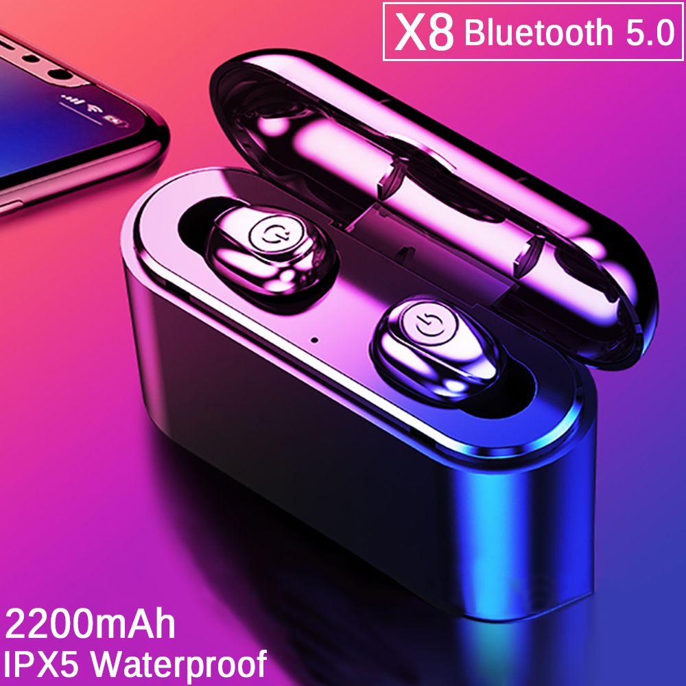 TWS X8 True sans fil écouteurs Bluetooth écouteurs Mini TWS étanche casques avec 2200 mAh batterie externe pour tous les téléphones
