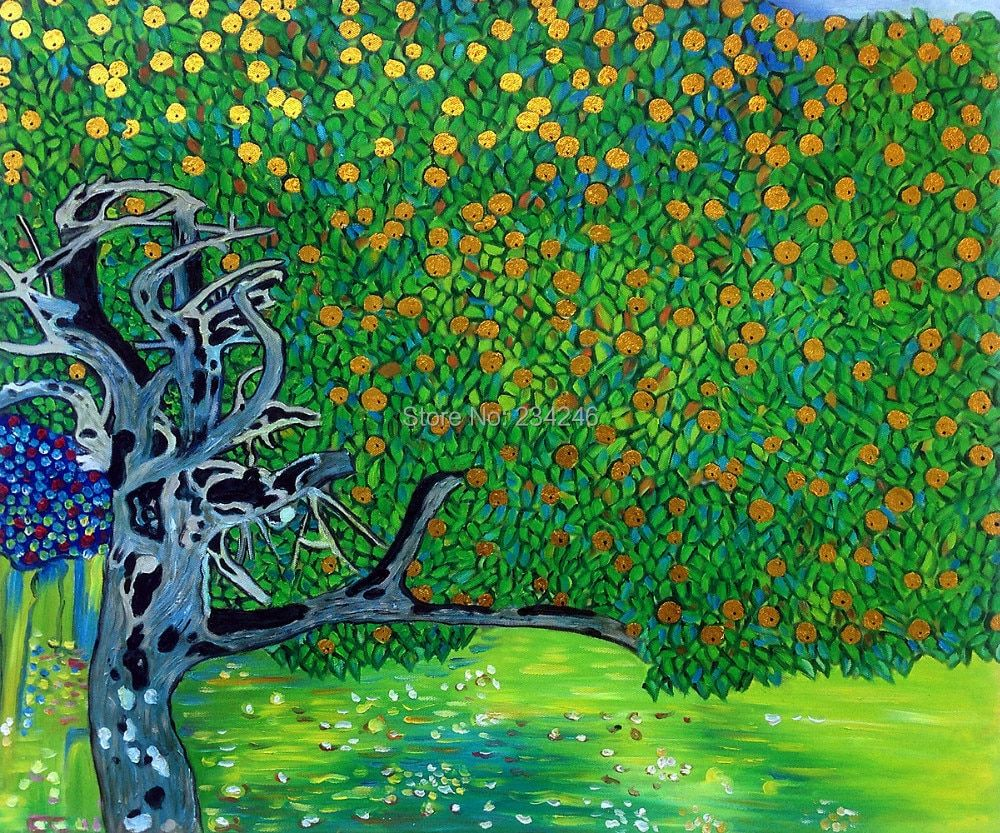 Canvas Wall Oil Painting Golden Apple Tree by Gustav Klimt Painting Famous Wall Art for Living Room Hand Painted Cheap