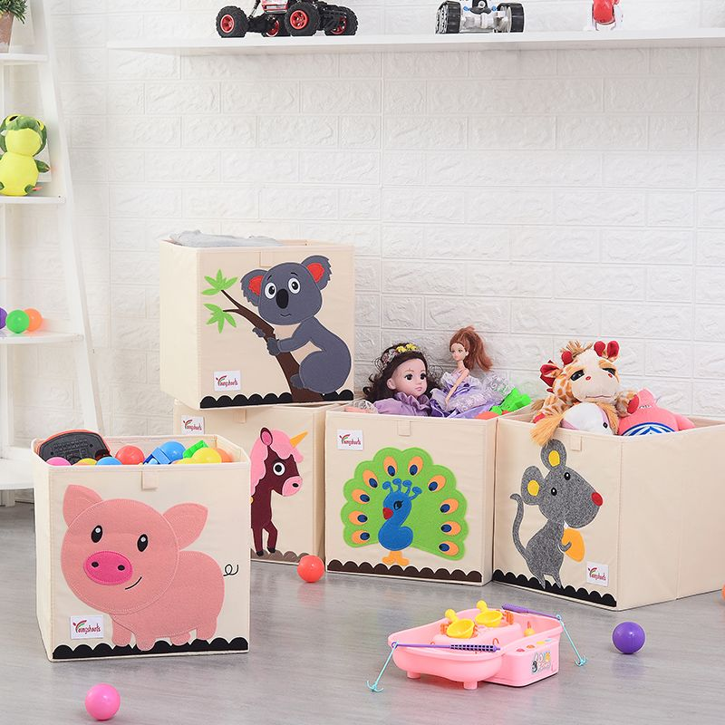 3D Embroidery cartoon Children toys Organizer Storage Box can be washed foldable Clothes storage bins Oxford Cloth box