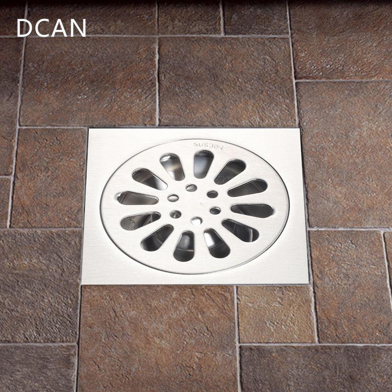 DCAN Floor <font><b>Drain</b></font> SUS304 Square Shower Drainer Grate Waste Tile Insert Square Floor Waste Grates Bathroom <font><b>Drains</b></font> <font><b>Drain</b></font> Strainers