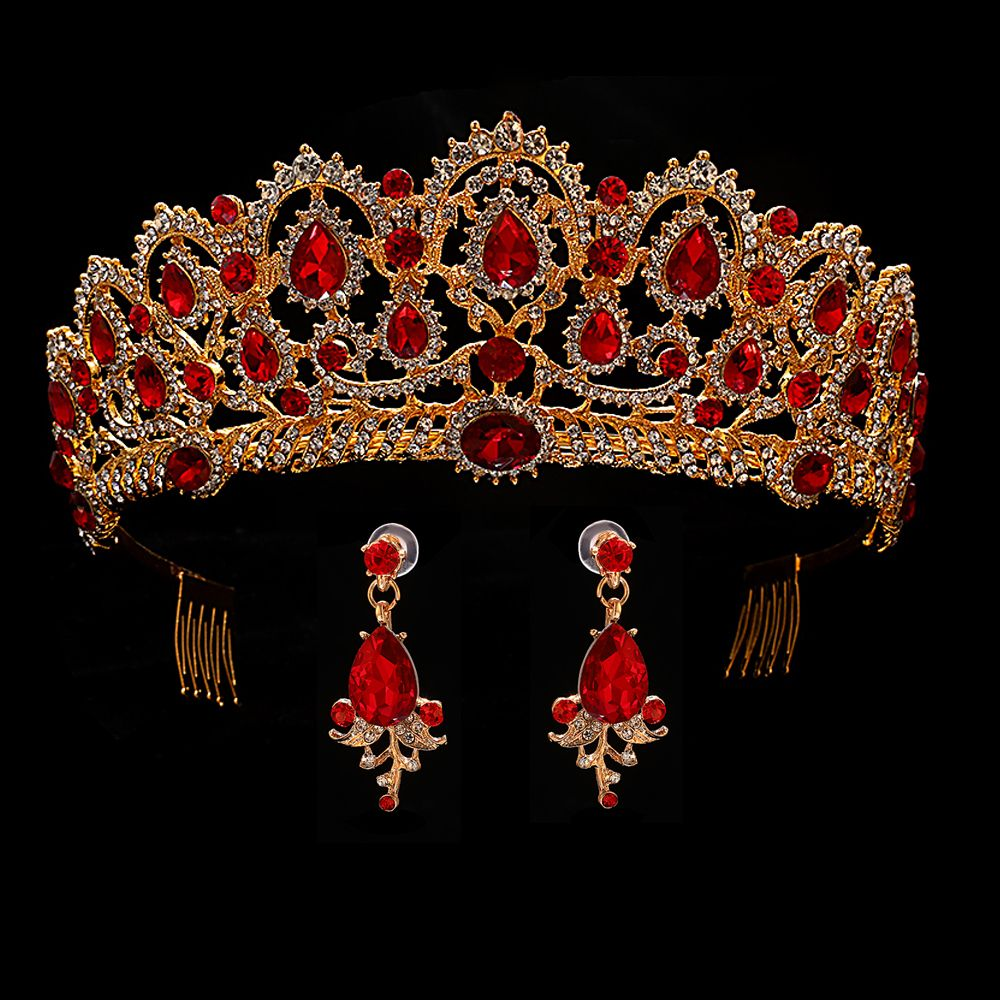 Red Wedding Crown Gold Royal Bridal Tiara Queen Bride Crown And Earring Pageant Baroque Headband Princess Hair Jewelry Ornament
