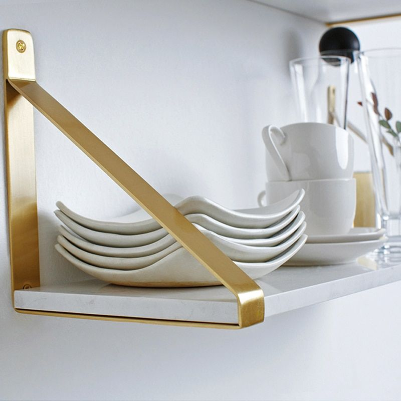 Gold Nordic Wall Decoration kitchen Magazine Storage Holders Racks Brass Modern Design Hanger for corridor Rails bookrack shelf