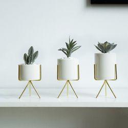 Set of 3pcs Ceramic Flower Planters with Iron Shelf Succulent Plant Pot Home Garden Decorative Flower Vase without plants