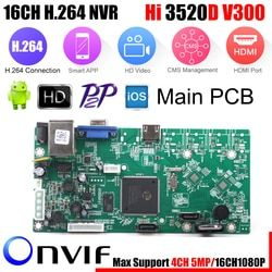 XMEye P2P 16CH 1080P CCTV NVR Board HI3520D 4CH 5MP 16CH 1080P Video Recorder Module 2 SATA Ports ONVIF Motion Detect