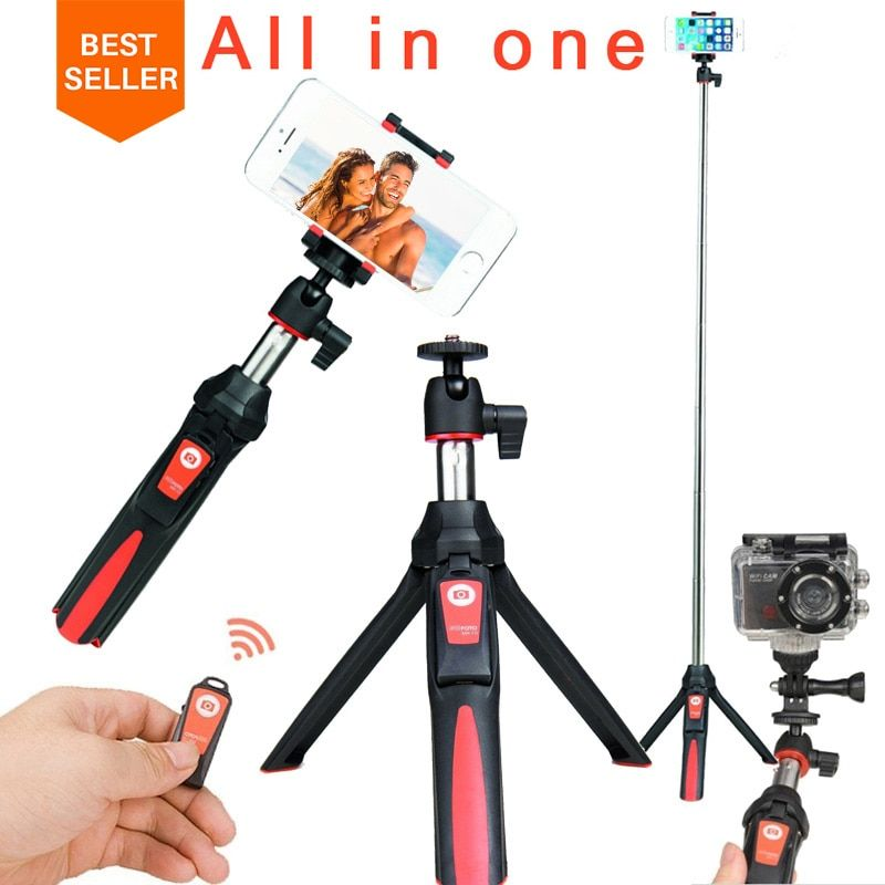 Ulanzi BENRO MK10 Selfie Stick Tripod Stand 4 in 1 <font><b>Extendable</b></font> Monopod Bluetooth Remote Phone Mount for iPhone X 8 Android Gopro