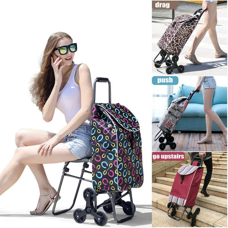 Home Climb Stairs Shopping Cart with Waterproof Bag, Household Trolly with seat, Steel Frame Shopping Cart, Pull Rod Cart