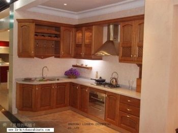 European style kitchen cabinet solid wood (LH-SW025)