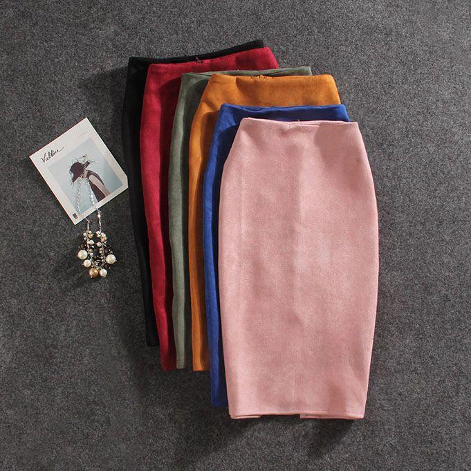 Femmes jupes été grande taille genou-longueur Jupe crayon Femme Vintage daim Split jupes Jupe Femme Faldas Mujer