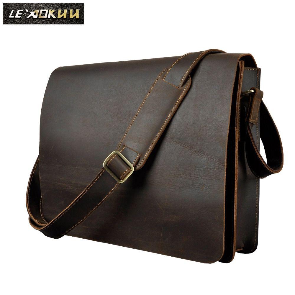 Men Leather Casual Design Messenger Shoulder Crossbody Bag Daily Bag Fashion Male Laptop bag University School Book Bag A063