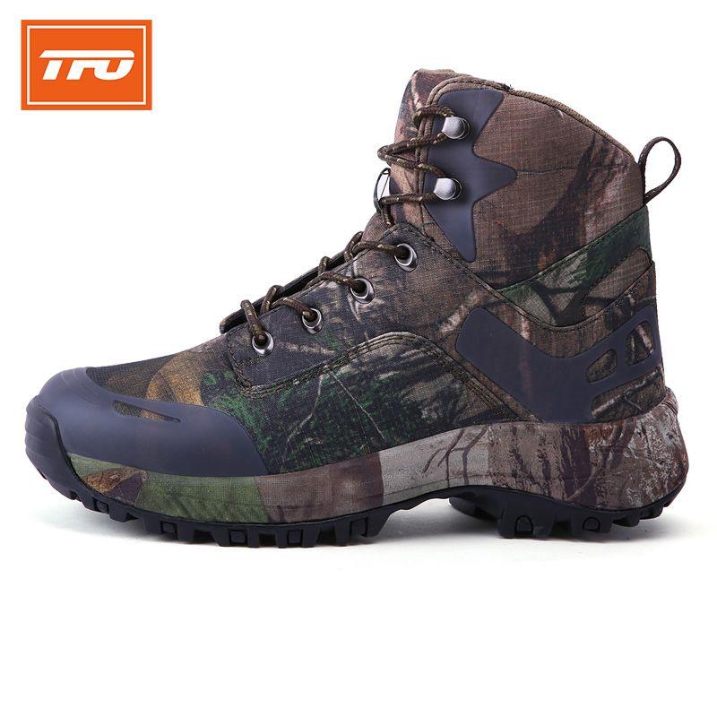 TFO мужчин Пеший Туризм обувь Камуфляж высокие сапоги уличные спортивные кроссовки Восхождение Mountain потепления 100% Пеший Туризм обувь 2017