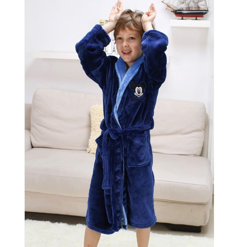 Albornoz Pijamas de Franela Gruesa de los niños de Mickey Minnie Hello Kitty Ropa de Dormir Batas para Los Muchachos de Bebé Albornoz