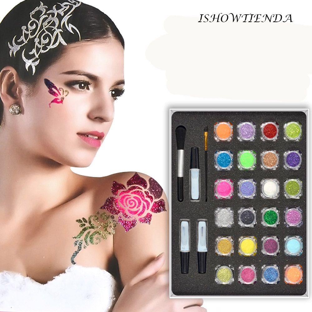 3D Colorful Waterproof Pattern Painted Diamond Glitter Tattoo Powder Temporary body painting Kit Brushes Glue Tattoo Stencils#10