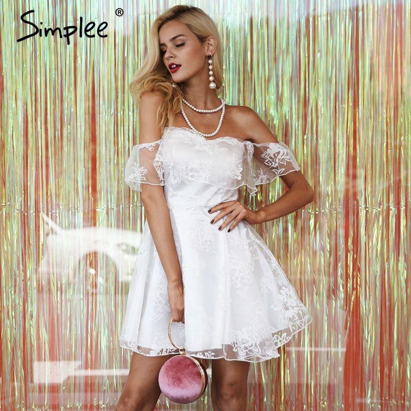 Simplee Ruffle off shoulder party dresses women Backless mesh high waist mini dress female Elegant strapless dress vestidos 2017