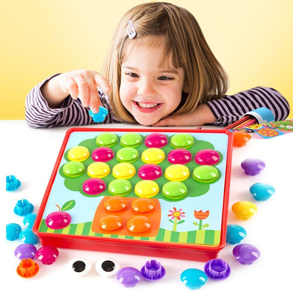 Ne Dot Champignon Puzzles Jouets Creative Mosaïque 3D Image Composite Puzzle Nail Kit Pour Enfants Bouton Art Enfants Jouet Éducatif