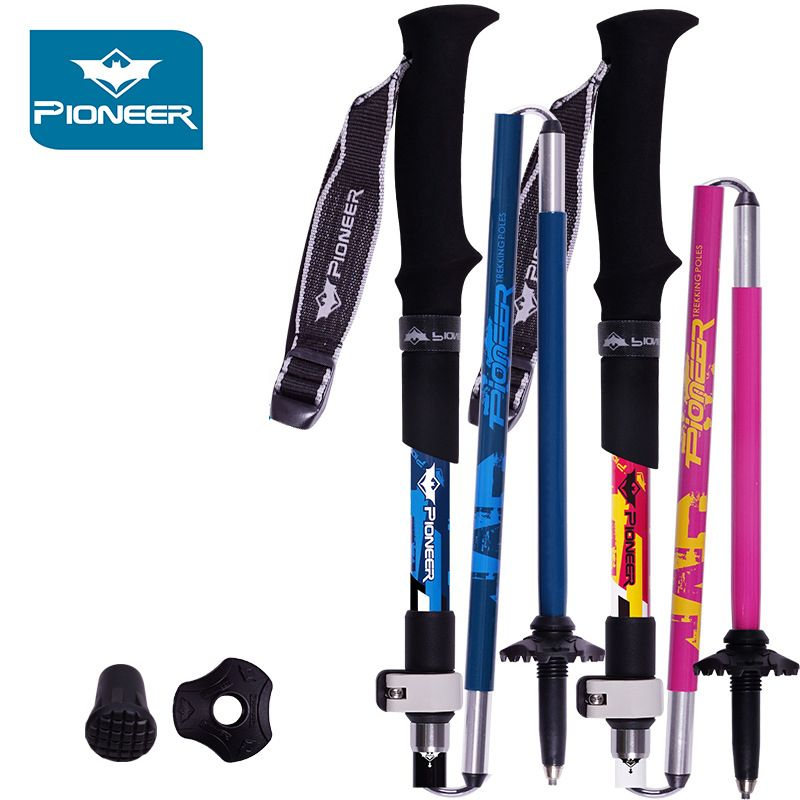 2 PCS Alpenstock Nordic Walking Poles Trekking Hiking Sticks Carbon Fiber Aluminum Hiking Accessories Adjustable Walking Sticks