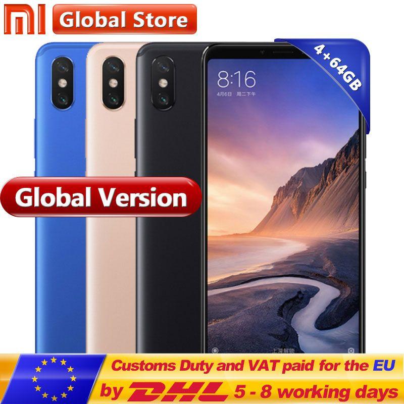 Global Version Mi Max 3 64GB ROM Mobile Phone 4GB RAM Snapdragon 636 Full Screen B4 B20 5500mAh Octa Core 6.9''
