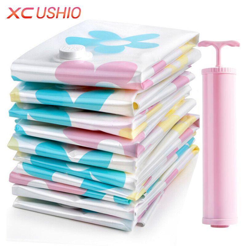 11 шт. в комплекте, утолщенные вакуумные пакеты для хранения вещей, набор вакуумных мешков с ручками с насосом, пакеты для храненя одеяла, оде...