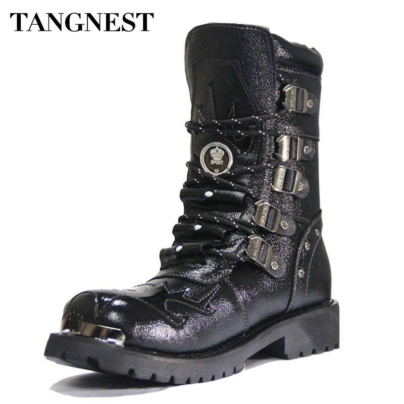 TANGNEST/Для мужчин; ботинки из натуральной кожи человек Военная Униформа мотоботы до середины икры Мартинсы Мужская зимняя теплая обувь с Мех ...