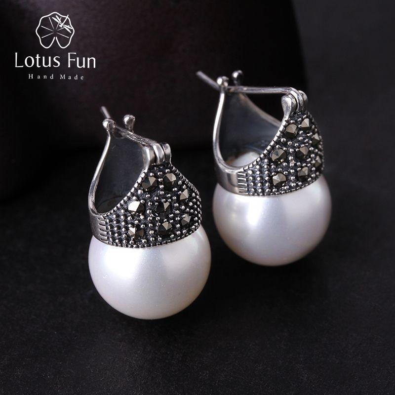 Lotus Fun réel 925 argent Sterling naturel fait à la main Designer Bijoux fins Vintage mode boucles d'oreilles pour femmes Brincos Bijoux