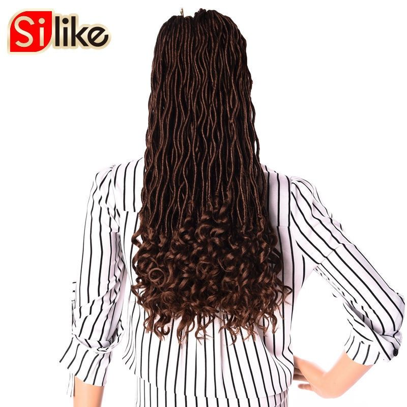 Silke 20 inch 6 packs Goddess Faux Locs Curly Crochet Hair 24 Roots Crochet Braid Hair Extension 5 Pure Colors Available