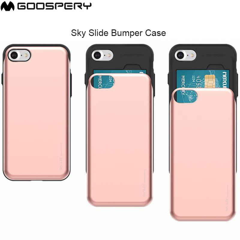 GOOSPERY Sky Slide Card Slot Bumper Anti-shock Cover Case for iPhone 6 6S 7 8 Plus X