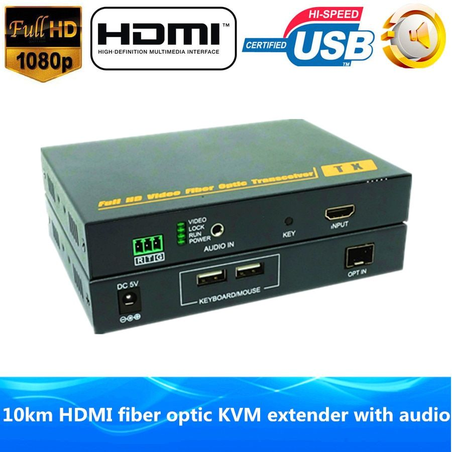1080 P HDMI Fiber Optic KVM USB Extender 10 km Über Fiber 1200 P HDMI Fiber Optic Bluetooth-stereo-audio-sender optische Video-konverter