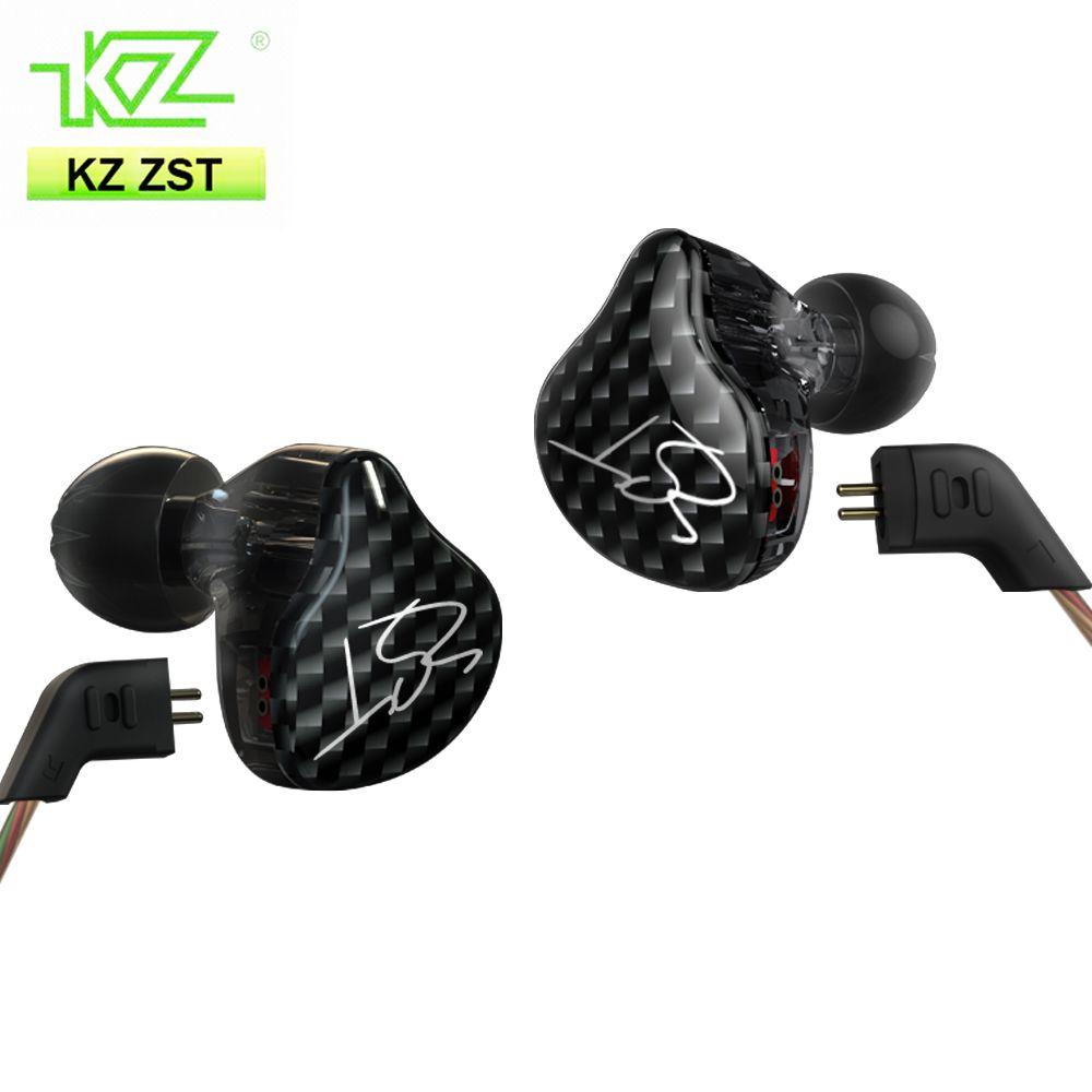 KZ ZST hybride ecouteurs Bluetooth + filaire 2 câbles Armature + lecteur dynamique HI-FI basse dans l'oreille écouteur micro remplacement câble mmcx