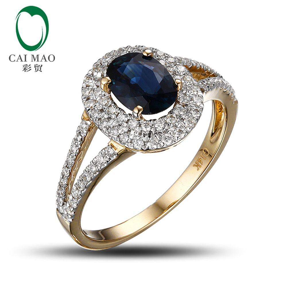 14k Yellow Gold 1.02ct Deep Dark Blue Sapphire Diamond Engagement Ring Free Shipping