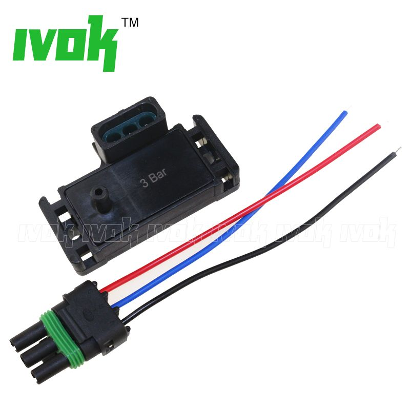 3Bar 3 Bar 12223861 Turbo Boost Pressure Map Sensor For Cadillac Chevrolet Chevy Pontiac Buick With Pigtail Plug Wire Kit