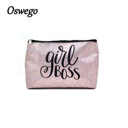 Oswego Glitter Lettre Imprimer Cosmétique Sac Femmes Maquillage Sac PU En Cuir Oreiller À Glissière Embrayage Portable Mode Organisateur Voyage Sac