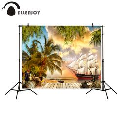 Allenjoy photography backdrop pirate ship Treasure chest coconut tree bucket parrot background photo studio camera fotografica