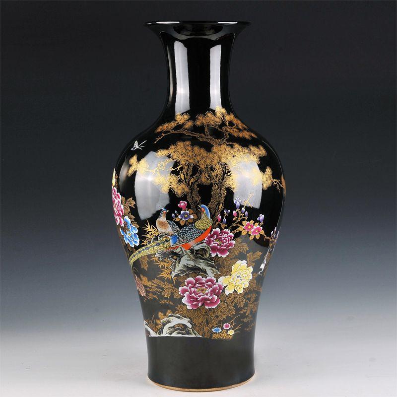 Florero de cerámica de aterrizaje grande negro esmalte flor estilo fishtail Europea moderna sala de estar decoración