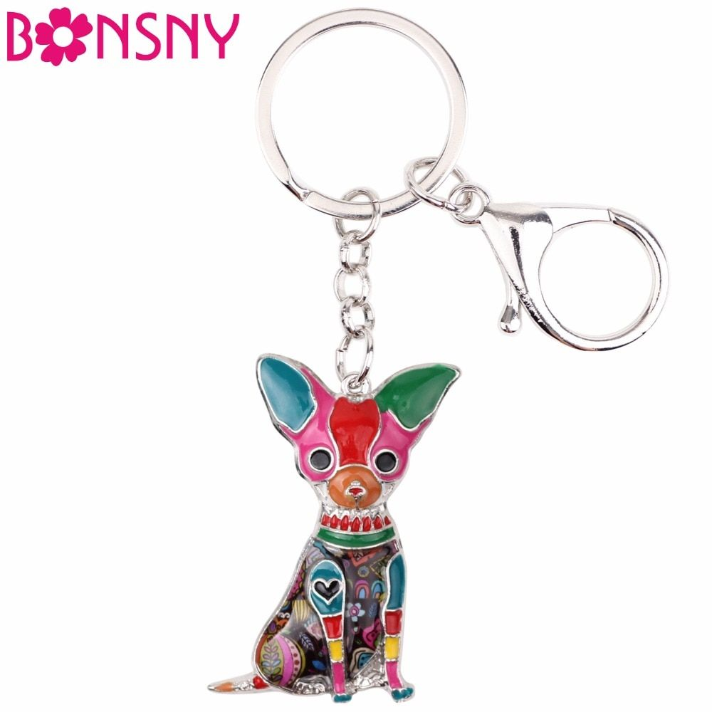 Bonsny Enamel Chihuahuas Dog Key Chain Key Ring Pom Gift For Women Girl Bag Pendant 2017 New Charm Key chain Fashion Jewelry
