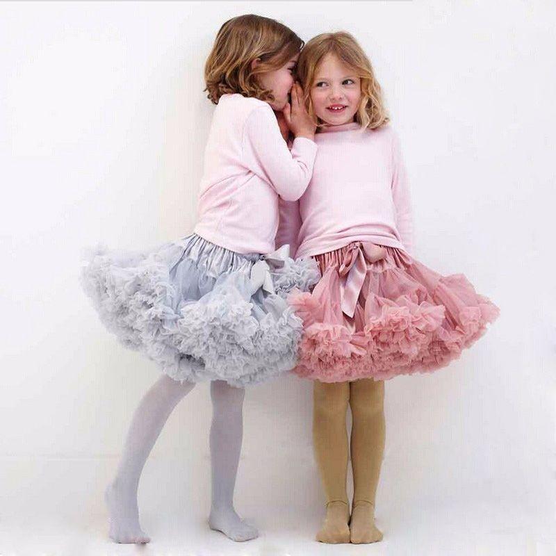Buenos Ninos filles moelleux 2 - 18 anos en mousseline de soie Pettiskirt solide couleurs tutu jupes fille jupe de danse de noël Tulle Petticoat