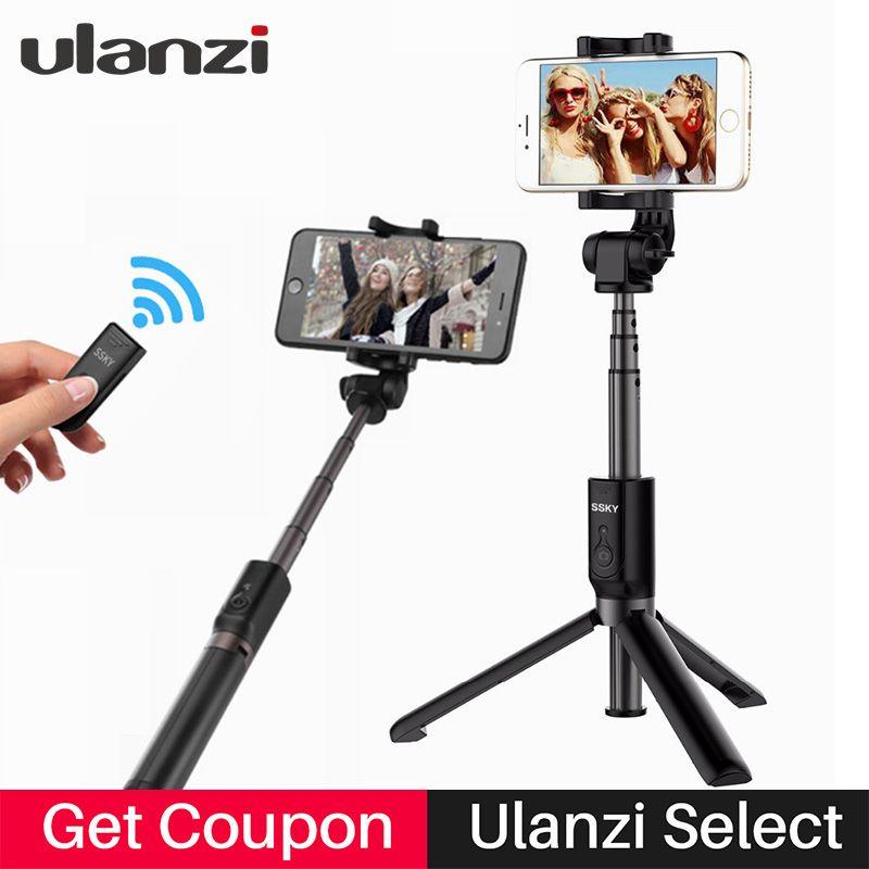 Ulanzi 27in Smartphone Tripod <font><b>Selfie</b></font> Stick Bluetooth Remote Control Mini Tripod for iPhone X 8 Samsung Huawei Xiaomi Cellphone