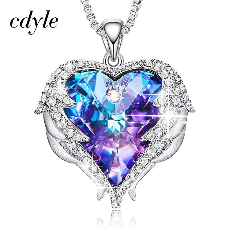 Cdyle Crystals from Swarovski Necklaces Women Pendants Heart Shaped Blue Purple Fashion Jewelry Austrian Rhinestone Vintage Male