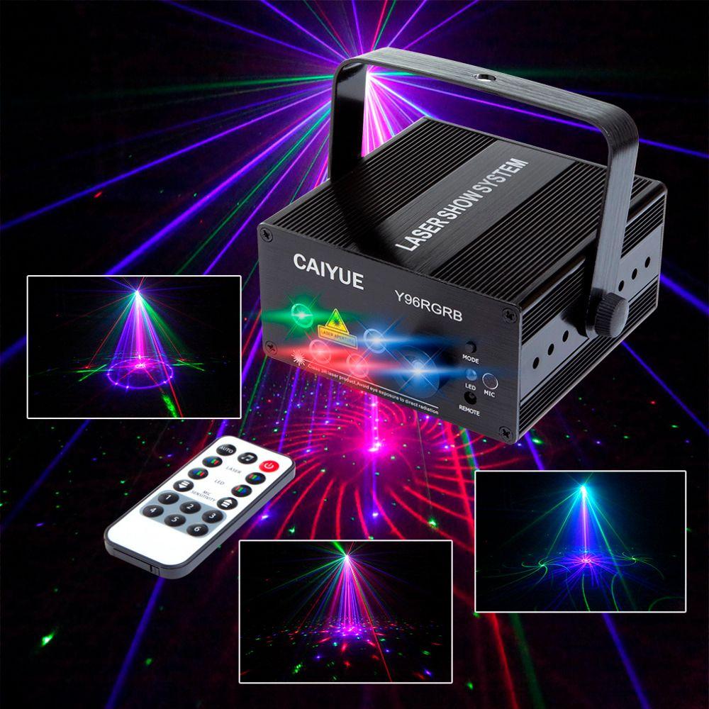DJ etapa de luz Láser A Todo Color RGB 96 o 48 Patrones RG proyector 3 W Azul LED del Efecto de Etapa de Iluminación de luz Del Disco Del Partido de Navidad