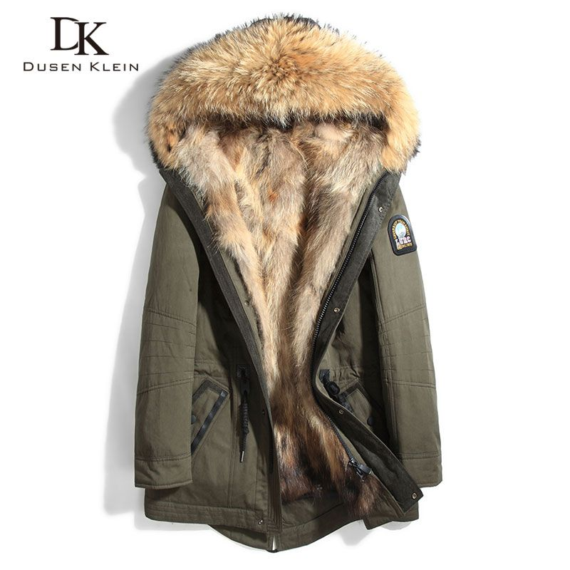 Raccoon fur for men Thick jackets long coats Designer fashin travel to overcome the winter Warm luxury hooded jackets 61E1125