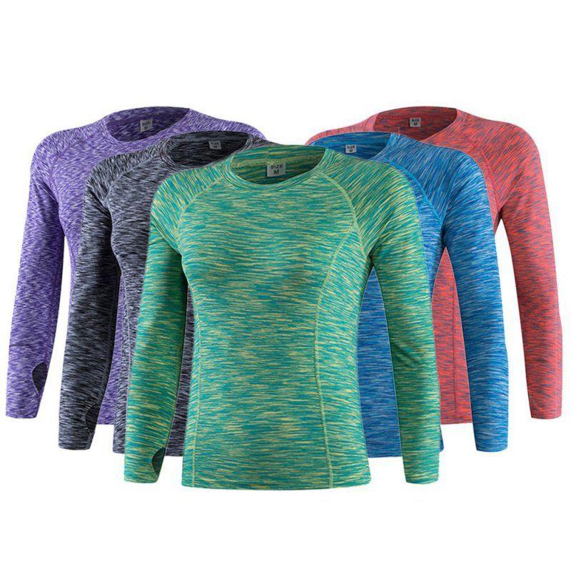 Neue Frauen Fitness Running Sport Stretch T-shirt Langarm Schnell Trockenen Tees Jogging Übungen Sportlich Yoga Kompression Tops